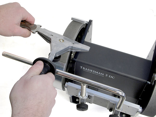 Tormek Knife Sharpening Jig SVM-45 on the Tradesman DC Bench Grinder