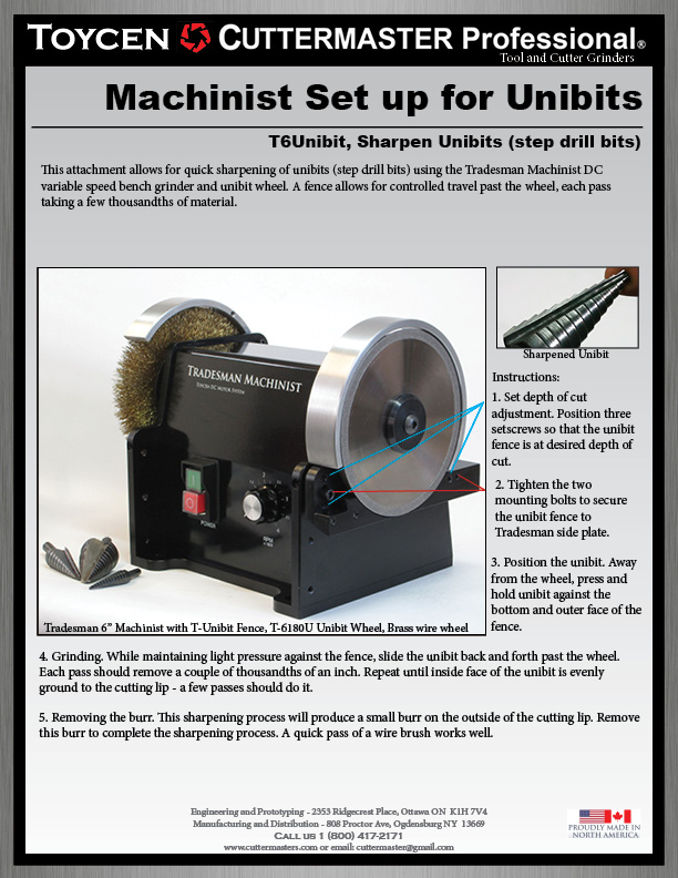 Tradesman Machinist Unibit Instructions